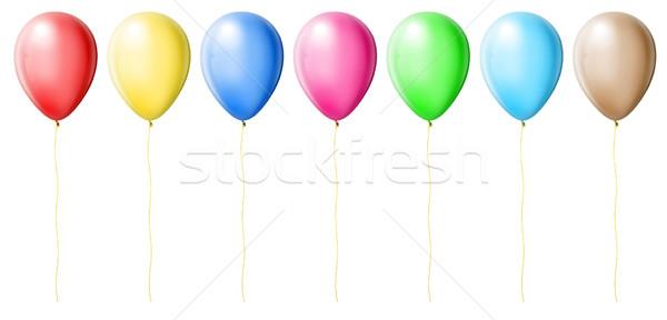 Kleur ballonnen geïsoleerd witte achtergrond oranje Stockfoto © leedsn