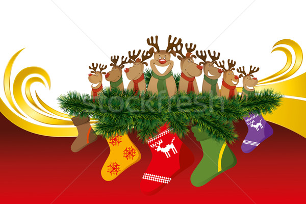 2012 vector christmas card with reindeers Stock photo © leedsn