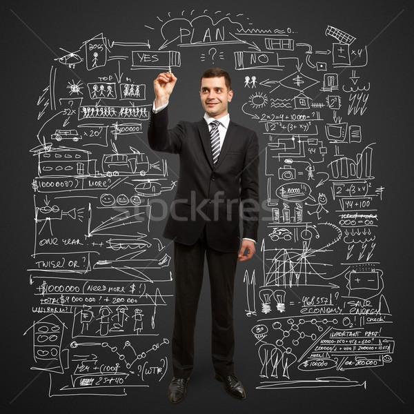 Сток-фото: бизнесмен · маркер · мужчины · что-то · стекла · человека
