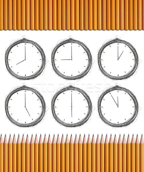 Pencils and Clocks Stock photo © leedsn