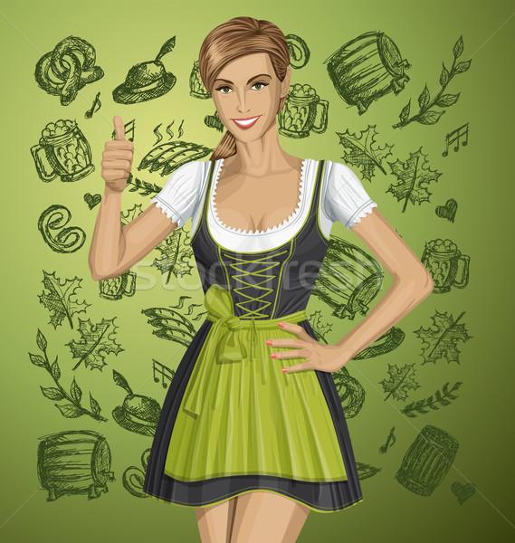 Vector cute mujer oktoberfest así nina Foto stock © leedsn