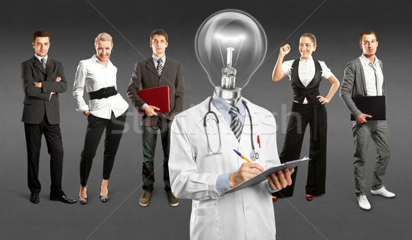 Business Team With Lamp Head Doctor Stock photo © leedsn