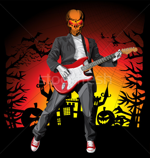 Punk gitaar vector halloween scary man Stockfoto © leedsn