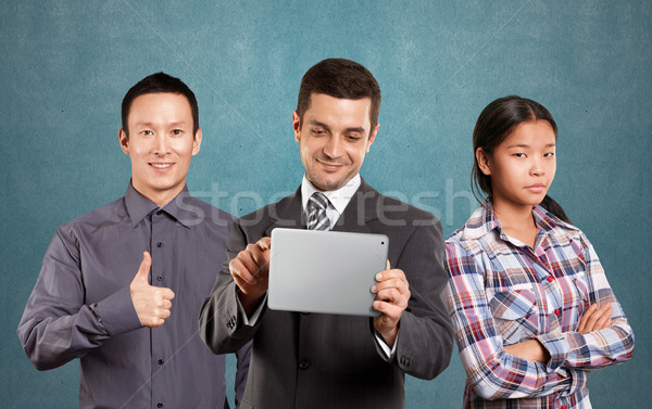 Stockfoto: Asian · team · zakenman · touch · man · pak