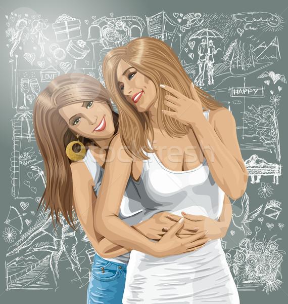 Vector vrouwen homo paar liefde twee Stockfoto © leedsn