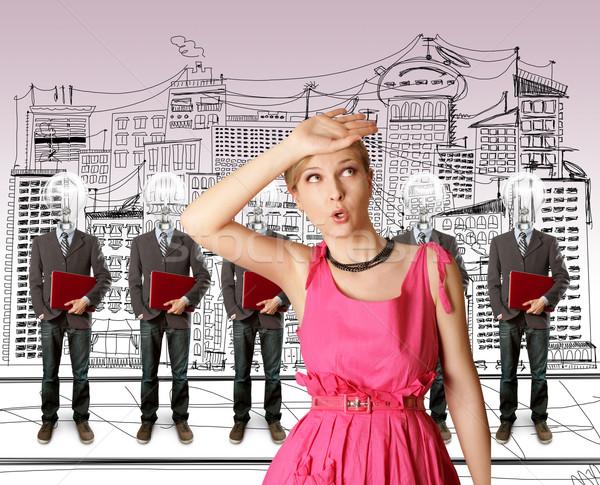 Femme lampe tête gens d'affaires portable rouge Photo stock © leedsn