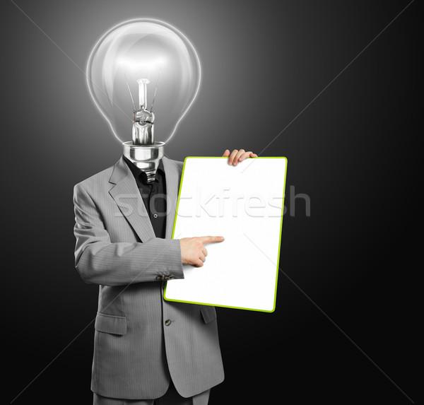 Сток-фото: лампы · голову · деловой · человек · пусто · написать · совета