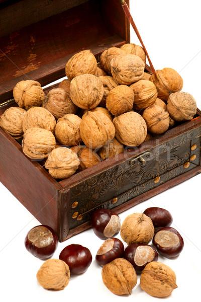 Mellkas étel egészség doboz reggeli eszik Stock fotó © leedsn