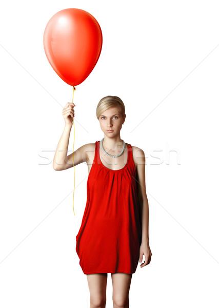 Blond rode jurk ballon vrouw partij mode Stockfoto © leedsn