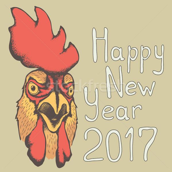 Сток-фото: вектора · петух · птица · иллюстрация · голову · Новый · год