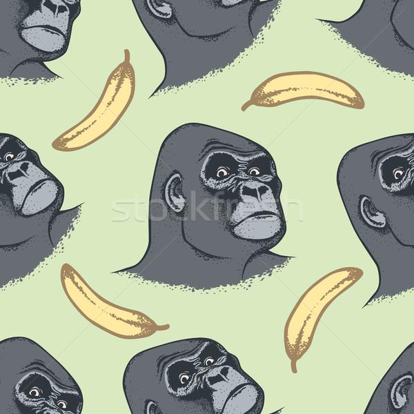 Vektor majom végtelen minta kéz rajz fej Stock fotó © leedsn