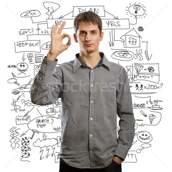 Homem feliz diferente fundos negócio Foto stock © leedsn