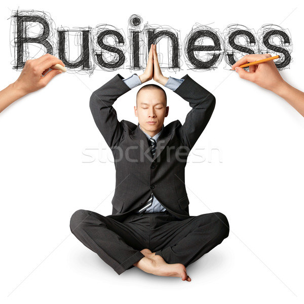 sketch word business with businessman Stock photo © leedsn