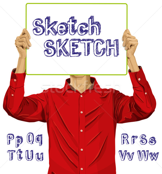 Man With Write Board And Sketch Alphabet 02---01 Stock photo © leedsn