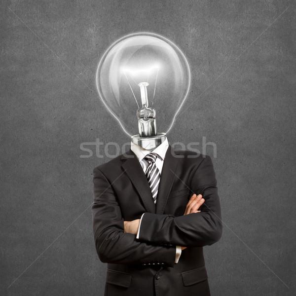 Stockfoto: Lamp · hoofd · man · pak · handen · zakenman
