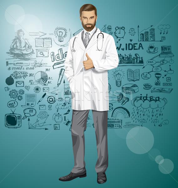 Stock fotó: Vektor · orvos · sztetoszkóp · férfi · kút · mosoly