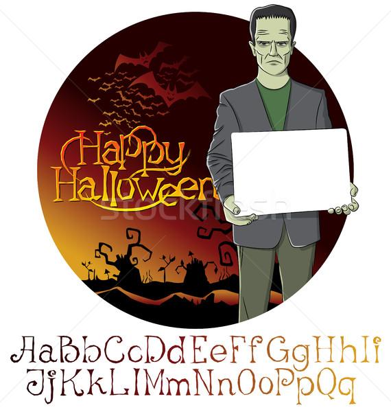 Vector Cartoon Frankenstein Halloween Stock photo © leedsn