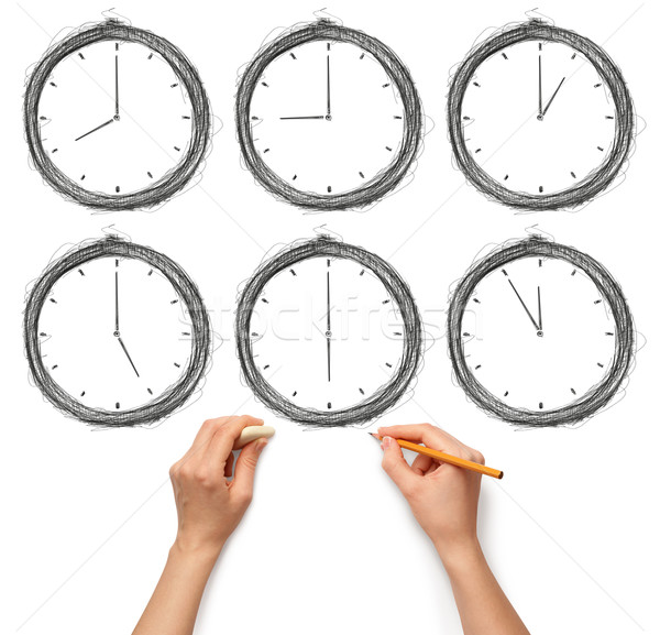 sketch clock with human hands with pencil and eraser Stock photo © leedsn