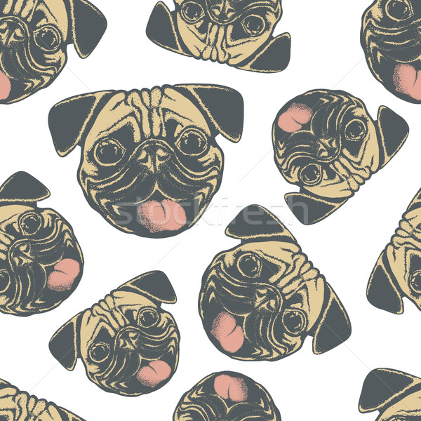 Pug dog vector seamless pattern illustration Stock photo © leedsn