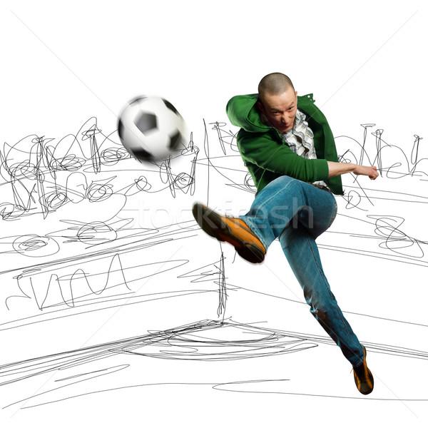 Foto stock: Asia · futbolista · formación · patear · balón · de · fútbol · hombre