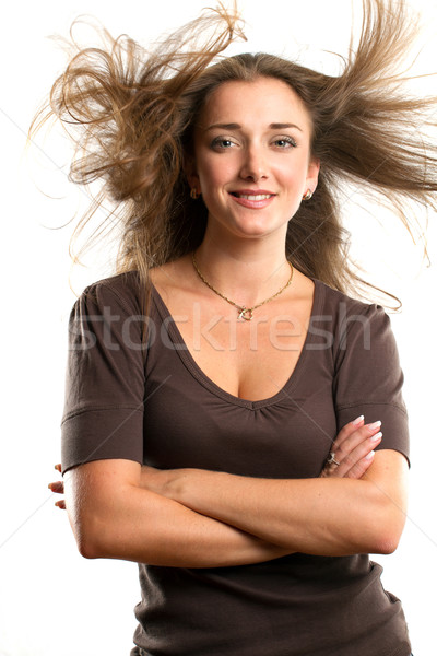 Woman With Wind in her Hair Stock photo © leedsn