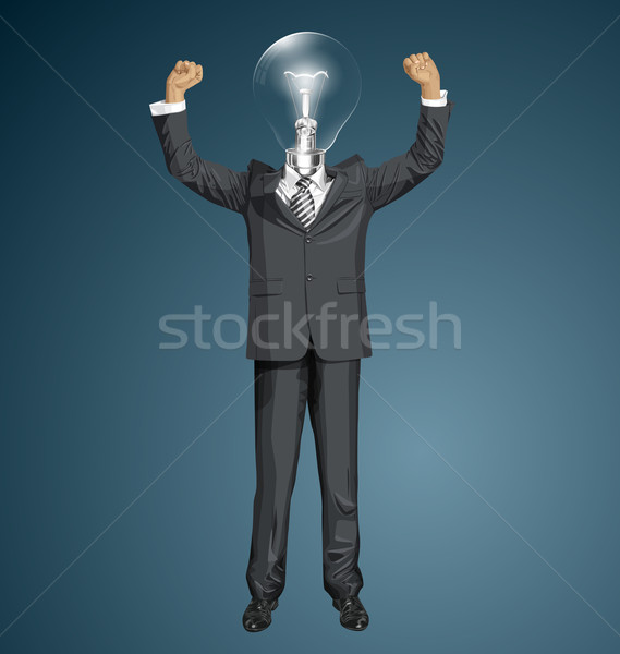 Vector Lamp Head Businessman With Hands Up Stock photo © leedsn