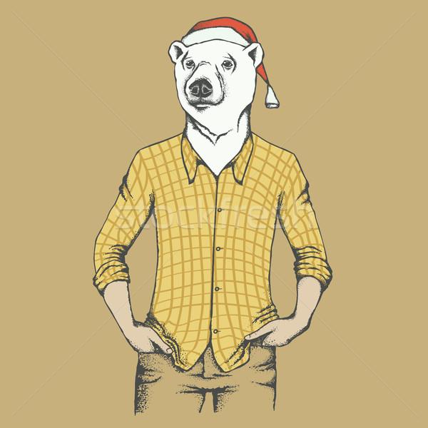 White polar bear vector illustration Stock photo © leedsn