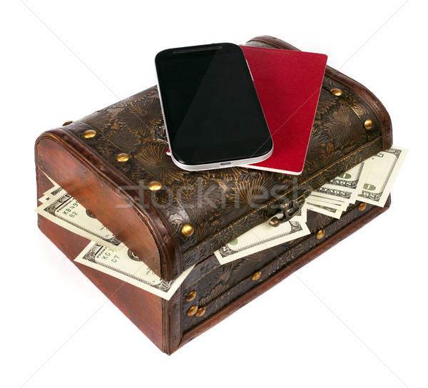 EUA dólares cuadro teléfono celular aislado blanco Foto stock © leedsn