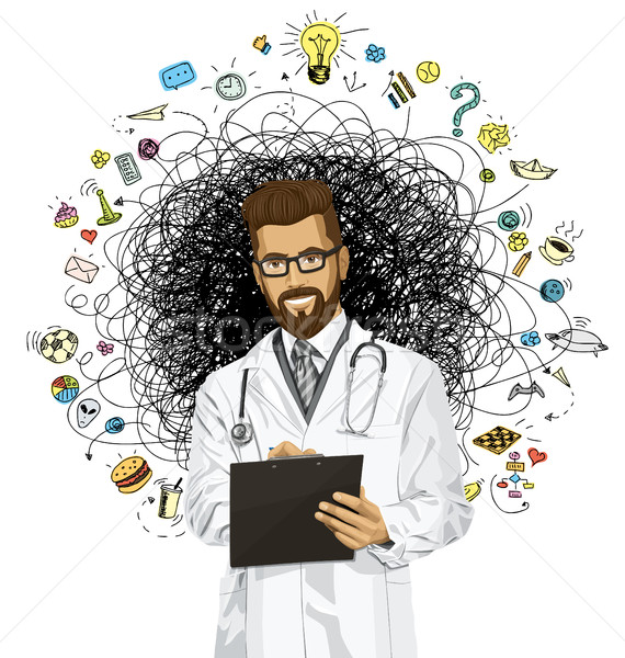 Vector Hipster Doctor Man With Clipboard Stock photo © leedsn
