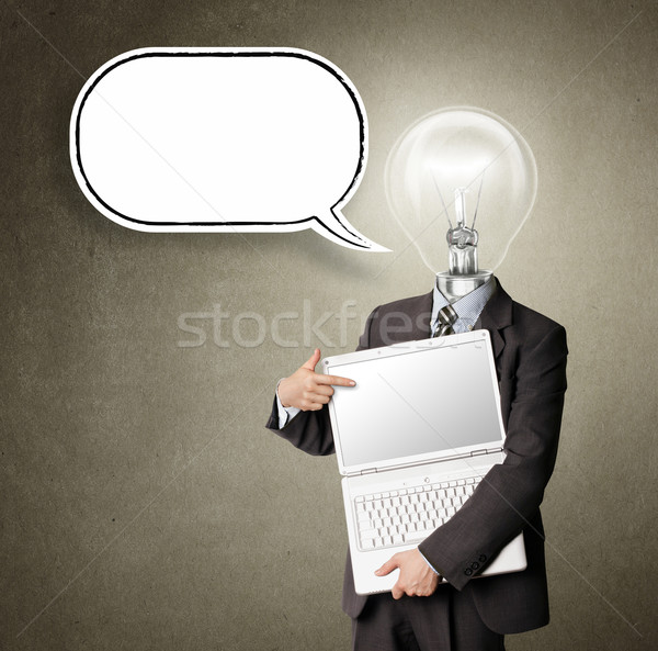businessman with lamp-head and laptop and comics bubble Stock photo © leedsn