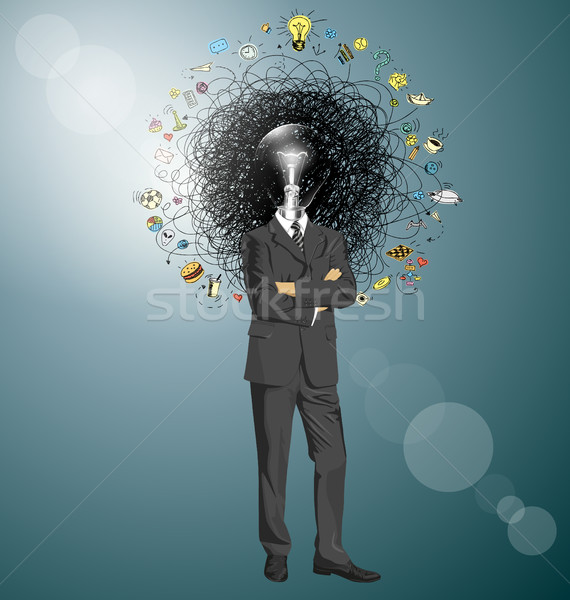 Biznesmen garnitur człowiek biznesu patrząc kamery fałdowy Zdjęcia stock © leedsn