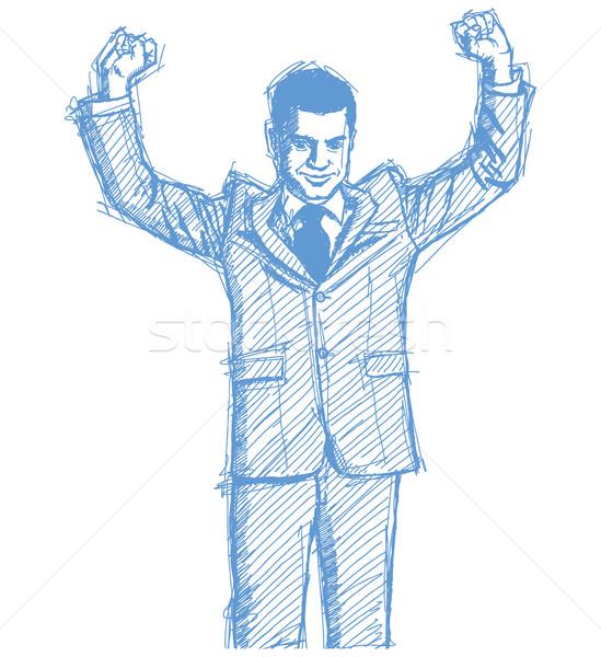Schets zakenman handen omhoog vector stijl Stockfoto © leedsn