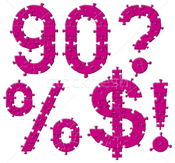 Foto stock: Quebra-cabeça · alfabeto · cartas · vetor · conjunto
