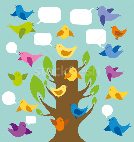 Vector Card With Birds And Tree Stock photo © leedsn