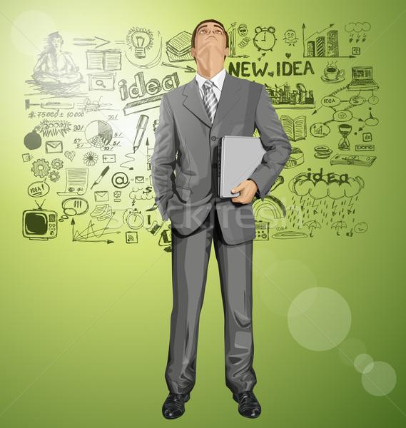 Wektora biznesmen laptop człowiek biznesu garnitur Zdjęcia stock © leedsn