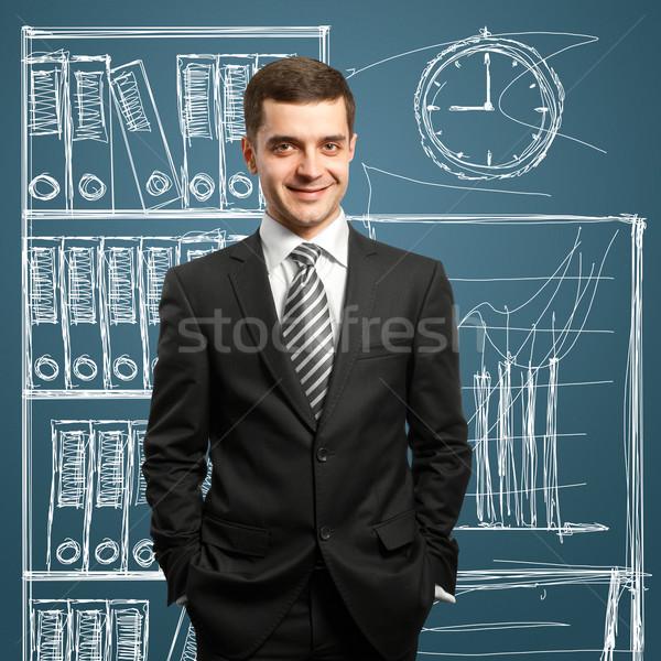 ビジネスマン スーツ 男性 笑顔 カメラ 手 ストックフォト © leedsn