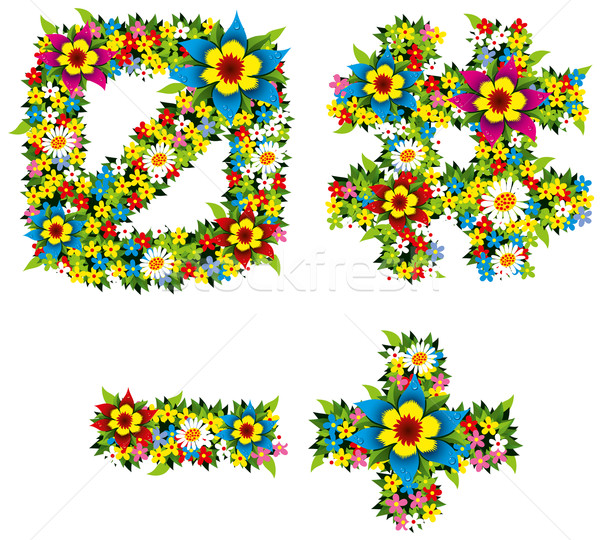 Stock photo: Flower and bush letters