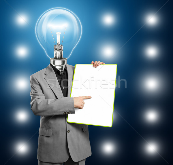 Lamp Head Business Man With Empty Write Board Stock photo © leedsn