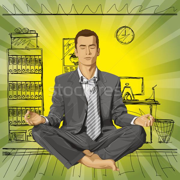 Stockfoto: Vector · zakenman · lotus · pose · mediteren · ontspannen