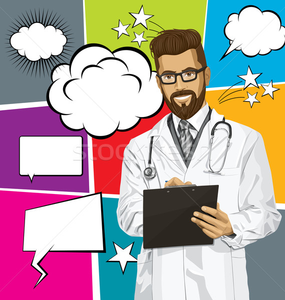 Vector Hipster Doctor Man With Clipboardr And Bubble Speech Stock photo © leedsn