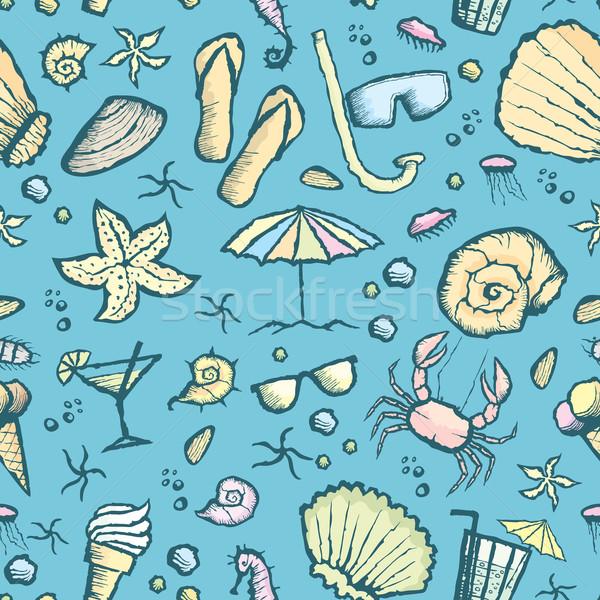 Sin costura mar criaturas patrón vector mano Foto stock © leedsn