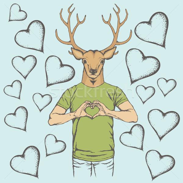 Deer Valentine day vector concept Stock photo © leedsn