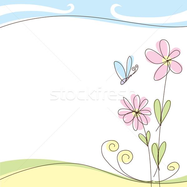 Lata karty wektora streszczenie wiosną kartkę z życzeniami Zdjęcia stock © leedsn