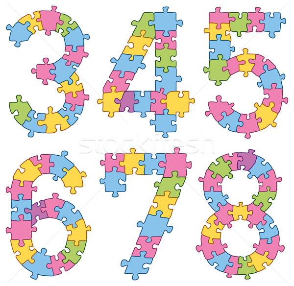 Quebra-cabeça alfabeto cartas vetor conjunto Foto stock © leedsn