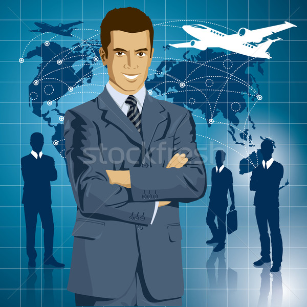 Vettore imprenditore suit idea viaggio uomo d'affari Foto d'archivio © leedsn