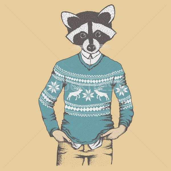 Wasbeer menselijke trui man gelukkig Stockfoto © leedsn