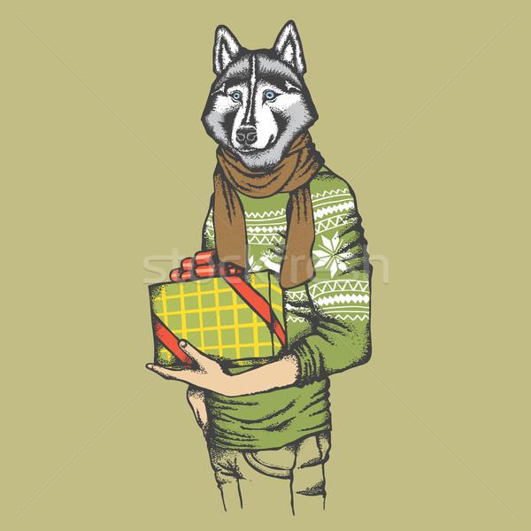 Husky umani regalo vettore cane Foto d'archivio © leedsn