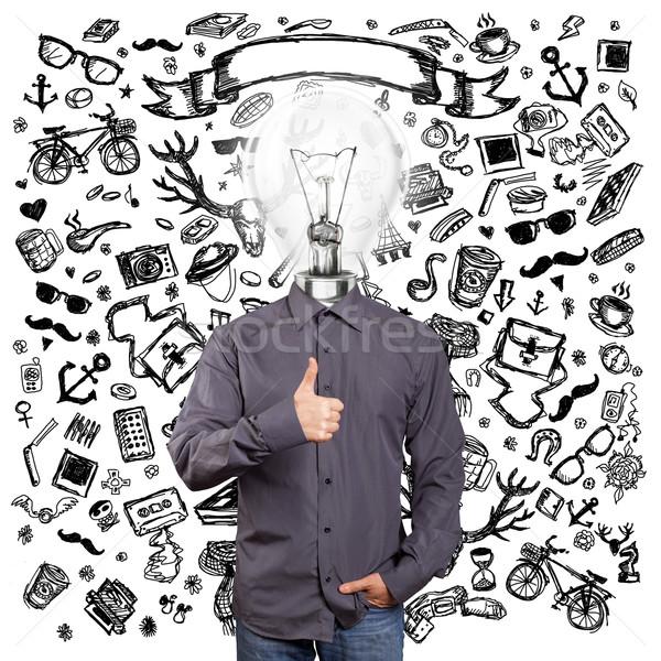 Stockfoto: Lamp · hoofd · man · goed · verschillend