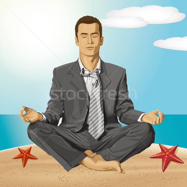 Vector Businessman in Lotus Pose Meditating Stock photo © leedsn