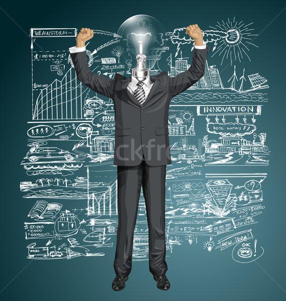 Vector lamp hoofd zakenman handen omhoog gelukkig Stockfoto © leedsn